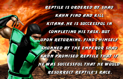 Reptile became a playable character in Mortal Kombat II with an all new unique moveset.